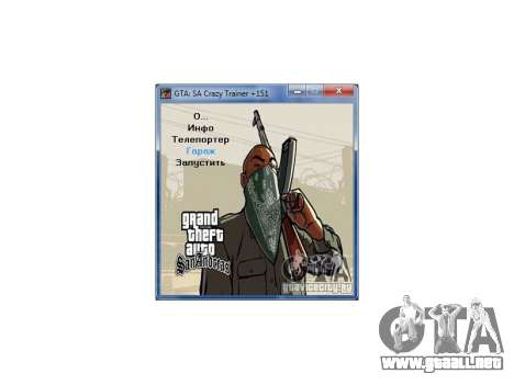 GTA San Andreas Crazy Trainer 151 v2.0 para GTA San Andreas