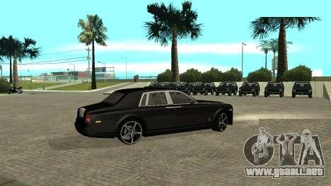 Rolls-Royce Phantom para GTA San Andreas vista hacia atrás