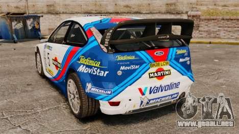 Ford Focus RS Martini WRC para GTA 4 Vista posterior izquierda
