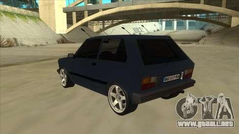 Zastava Yugo 1.1 para GTA San Andreas vista hacia atrás