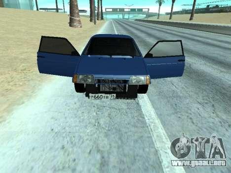 VAZ 2108 una docena azul para GTA San Andreas vista posterior izquierda