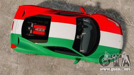 Ferrari 458 Italia 2010 Italian para GTA 4 visión correcta