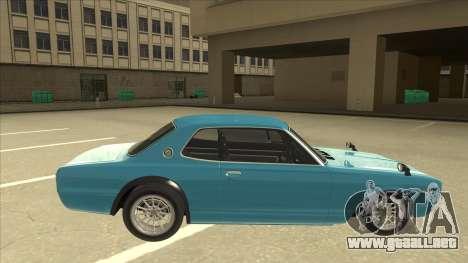Nissan Skyline 2000 GT-R RB26DETT Black Revel para GTA San Andreas vista posterior izquierda