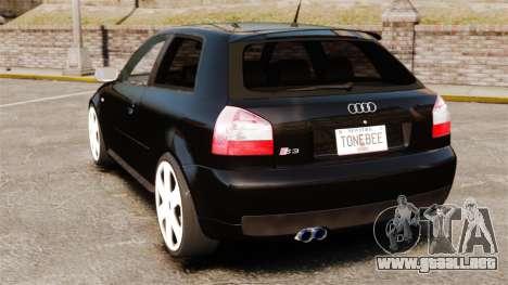 Audi S3 2001 para GTA 4 Vista posterior izquierda