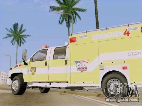 GMC C4500 Topkick BCFD Rescue 4 para la vista superior GTA San Andreas