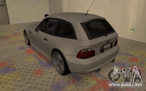 BMW Z3 M Power 2002 para GTA San Andreas vista posterior izquierda