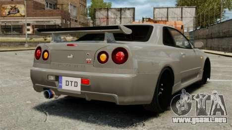 Nissan Skyline R34 para GTA 4 Vista posterior izquierda