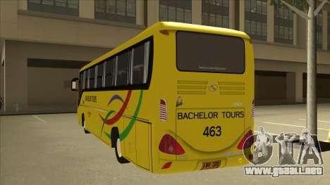Kinglong XMQ6126Y - Bachelor Tours 463 para GTA San Andreas vista hacia atrás
