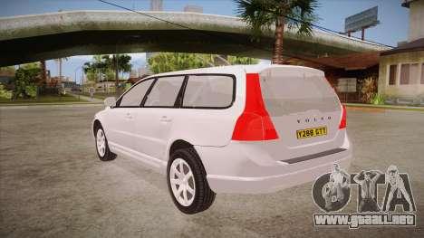 Volvo V70 Unmarked Police para GTA San Andreas vista posterior izquierda