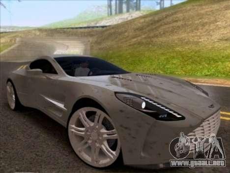 Aston Martin One-77 para GTA San Andreas vista hacia atrás