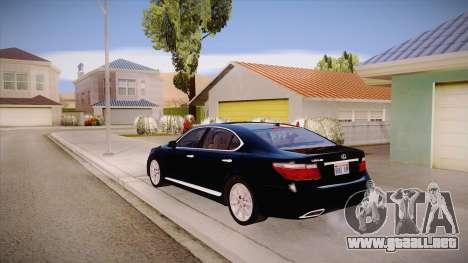 Lexus LS 600h L para GTA San Andreas vista posterior izquierda