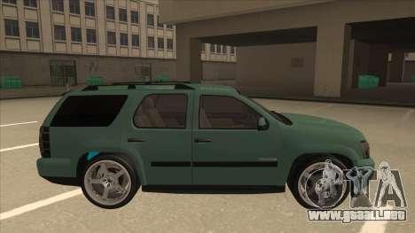 Chevrolet Tahoe Sound Car The Adiccion para GTA San Andreas vista posterior izquierda