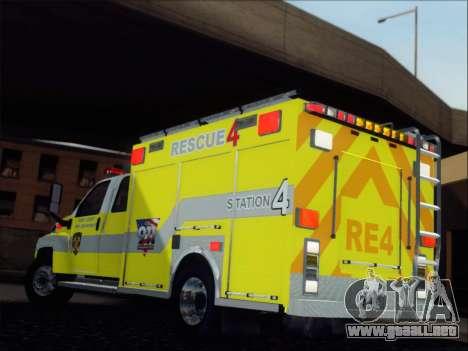 GMC C4500 Topkick BCFD Rescue 4 para GTA San Andreas vista posterior izquierda