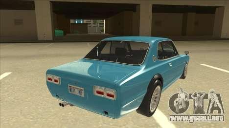 Nissan Skyline 2000 GT-R RB26DETT Black Revel para la visión correcta GTA San Andreas