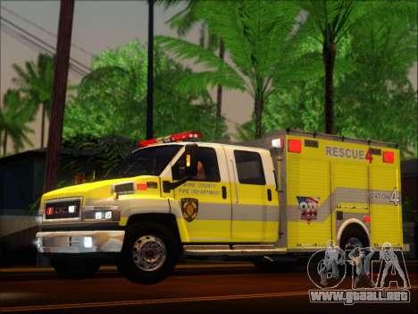 GMC C4500 Topkick BCFD Rescue 4 para GTA San Andreas vista hacia atrás