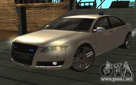 Audi A8L D3 para GTA San Andreas vista posterior izquierda