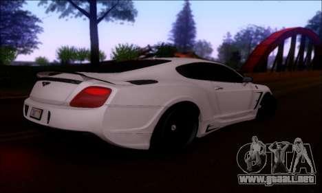 Bentley Continental GT para GTA San Andreas vista hacia atrás
