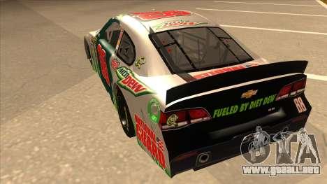 Chevrolet SS NASCAR No. 88 Diet Mountain Dew para GTA San Andreas vista hacia atrás
