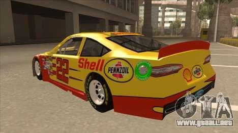Ford Fusion NASCAR No. 22 Shell Pennzoil para GTA San Andreas vista hacia atrás