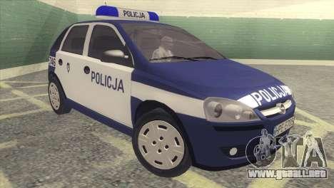 Opel Corsa C Policja para GTA San Andreas left