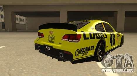 Chevrolet SS NASCAR No. 48 Lowes yellow para la visión correcta GTA San Andreas