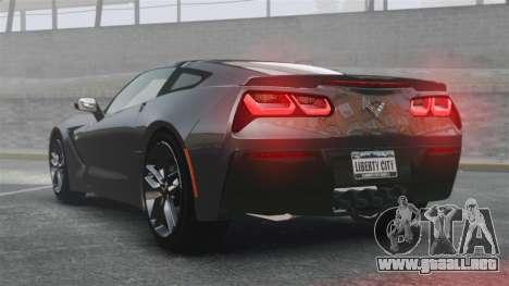Chevrolet Corvette C7 Stingray 2014 para GTA 4 Vista posterior izquierda