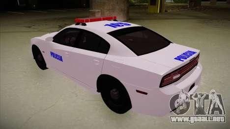 Dodge Charger SRT8 Policija para GTA San Andreas vista hacia atrás