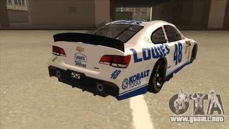 Chevrolet SS NASCAR No. 48 Lowes white para la visión correcta GTA San Andreas