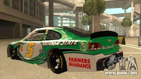 Chevrolet SS NASCAR No. 5 Quaker State para GTA San Andreas vista hacia atrás