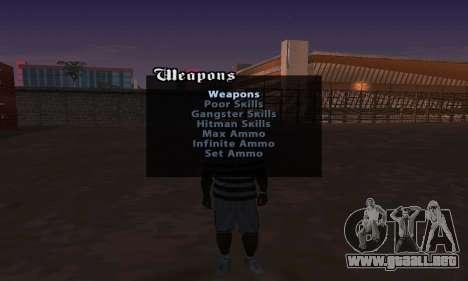 Cheat Menu para GTA San Andreas segunda pantalla