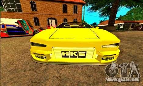 Infernus Cabrio Edition para GTA San Andreas vista hacia atrás