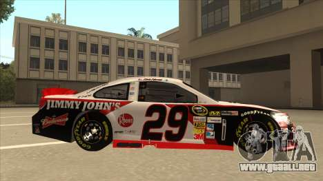 Chevrolet SS NASCAR No. 29 Jimmy Johns para GTA San Andreas vista posterior izquierda