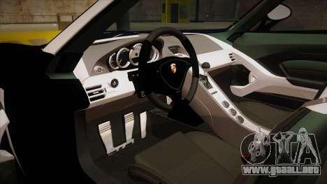 Porsche Carrera GT 2004 Police Black para visión interna GTA San Andreas
