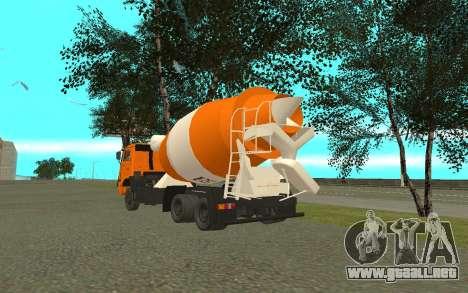 KAMAZ 6520 cemento para GTA San Andreas vista posterior izquierda