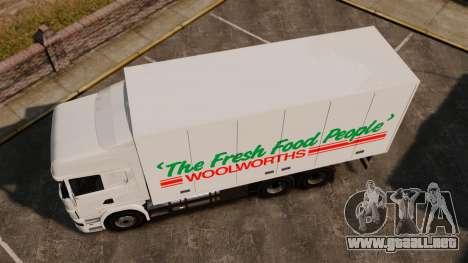Scania R580 Tandem Woolworths para GTA 4 Vista posterior izquierda