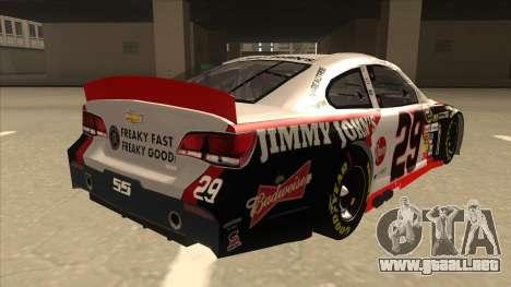 Chevrolet SS NASCAR No. 29 Jimmy Johns para la visión correcta GTA San Andreas