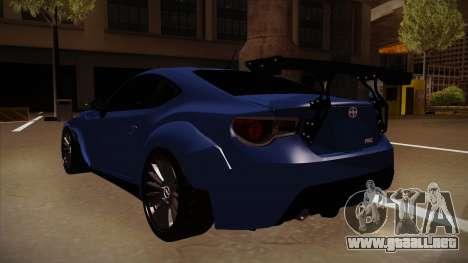 Scion FR-S Rocket Bunny para GTA San Andreas vista hacia atrás