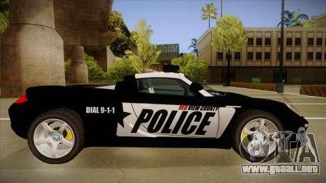 Porsche Carrera GT 2004 Police Black para GTA San Andreas vista posterior izquierda