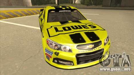 Chevrolet SS NASCAR No. 48 Lowes yellow para GTA San Andreas left