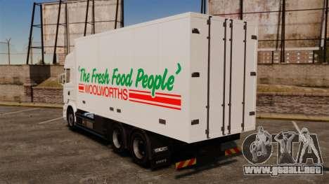 Scania R580 Tandem Woolworths para GTA 4 left