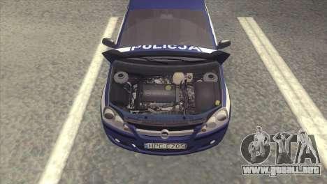 Opel Corsa C Policja para la visión correcta GTA San Andreas