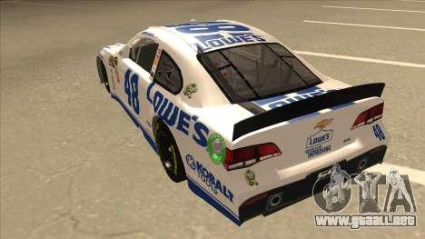 Chevrolet SS NASCAR No. 48 Lowes white para GTA San Andreas vista hacia atrás