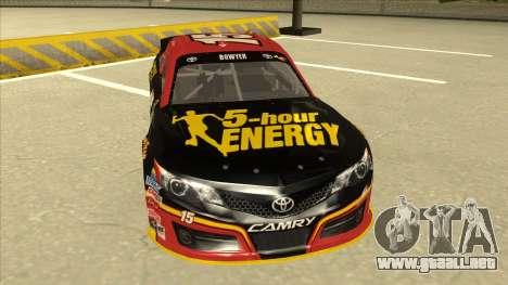 Toyota Camry NASCAR No. 15 5-hour Energy para GTA San Andreas left