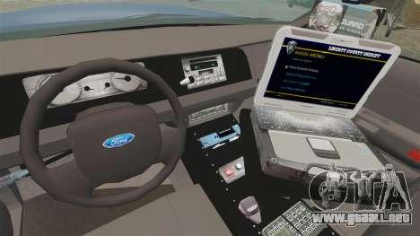 Ford Crown Victoria Virginia State Police [ELS] para GTA 4 vista hacia atrás