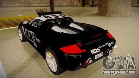 Porsche Carrera GT 2004 Police Black para GTA San Andreas vista hacia atrás
