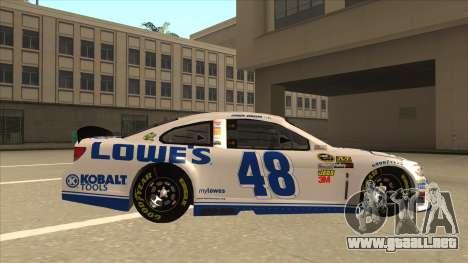 Chevrolet SS NASCAR No. 48 Lowes white para GTA San Andreas vista posterior izquierda