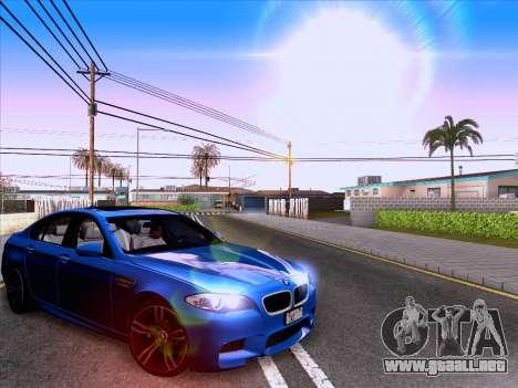 BMW M5 F10 2012 Autovista para GTA San Andreas vista posterior izquierda