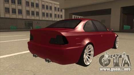 BMW M3 Tuned para la visión correcta GTA San Andreas