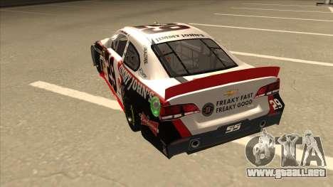 Chevrolet SS NASCAR No. 29 Jimmy Johns para GTA San Andreas vista hacia atrás