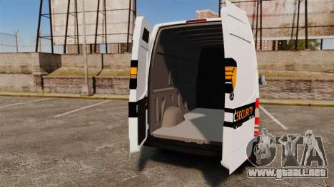 Mercedes-Benz Sprinter Sokol Maric Security para GTA 4 vista hacia atrás